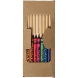 Kit de crayons et crayons gras colorés 19 pièces Lucky