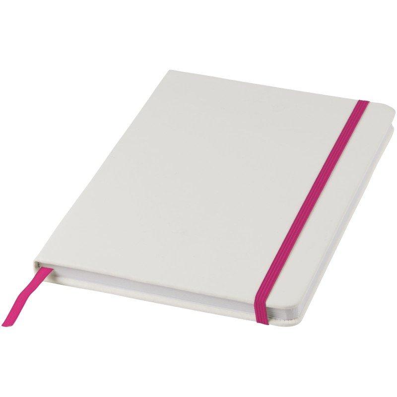 Carnet de notes blanc A5 Spectrum avec élastique de couleur